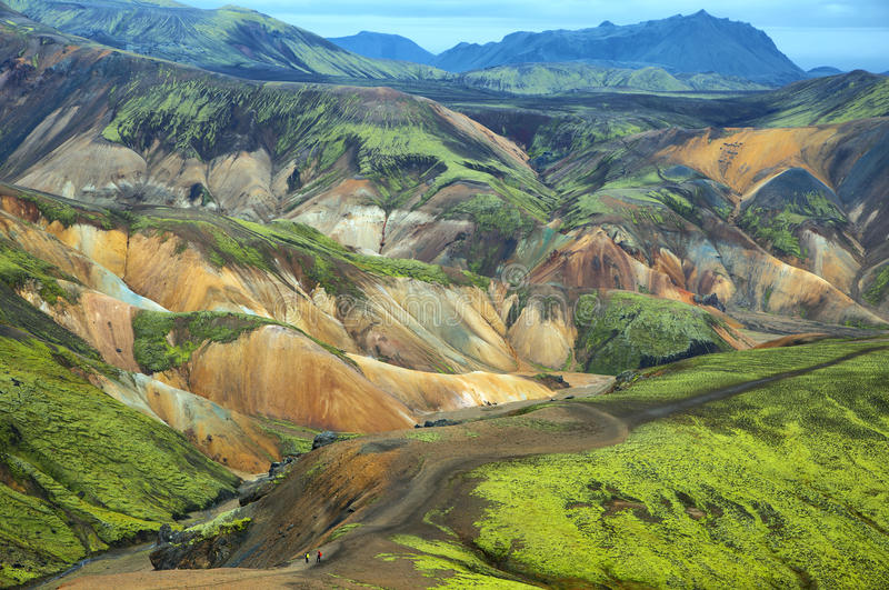 Multicolored mountains at Landmannalaugar,. Multicolored rhyolite mountains of Landmannalaugar, Iceland royalty free stock photography