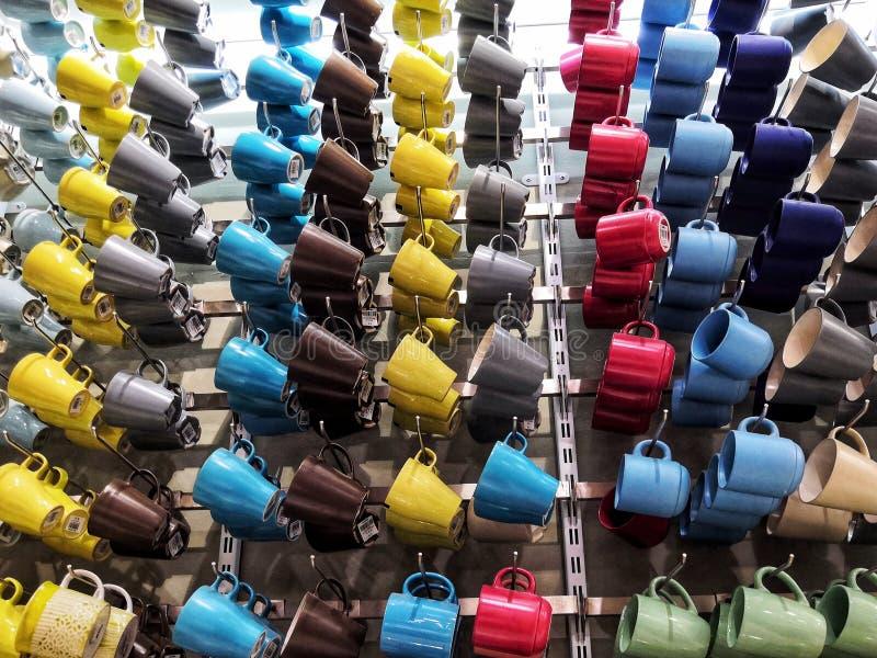 Multicolored mugs stock photo