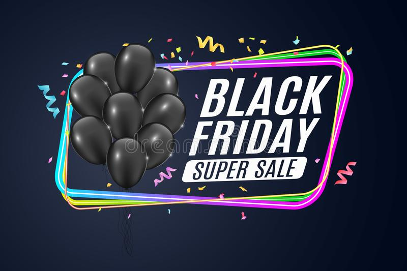 Multicolored neon banner for black Friday sale. Bunch of black realistic shiny balloons. Color frame on a dark blue background. Fe stock illustration