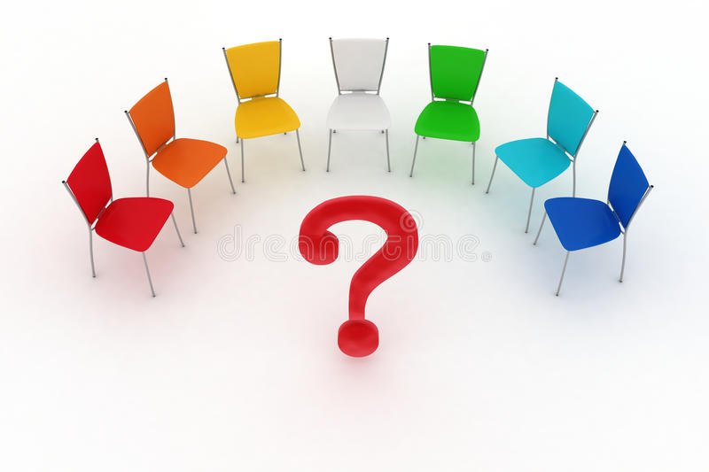 Multicolored office chairs and question mark vector illustration