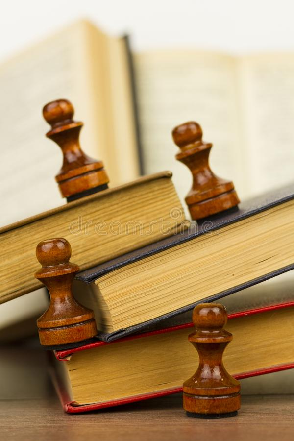 Chess table and open book stock image  Image of education