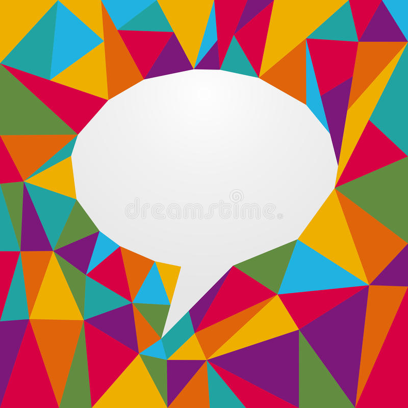 Multicolored origami speech bubble royalty free illustration