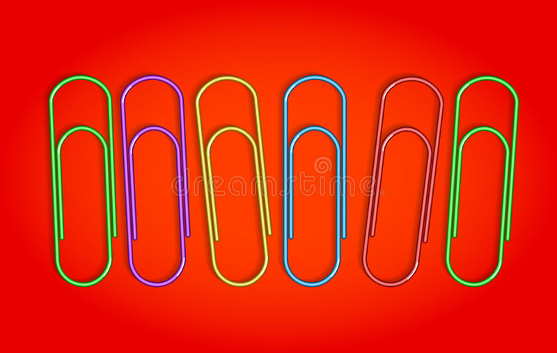 Multicolored paper clips on red background. Vector illustrations. Multicolored paper clips on red background. Vector illustration royalty free illustration