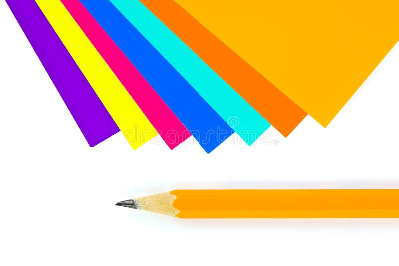 Download Multicolored Paper And Pencil Stock Photo - Image of drawing, idea: 15178228
