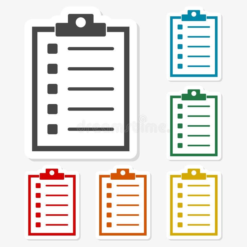 Multicolored paper stickers - Checklist icon. Vector icon royalty free illustration