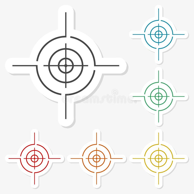 Multicolored paper stickers - Crosshair set. Vector icon royalty free illustration