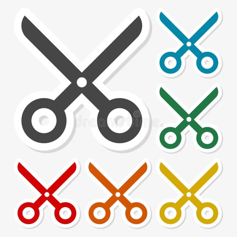 Multicolored paper stickers - Scissors icon royalty free illustration