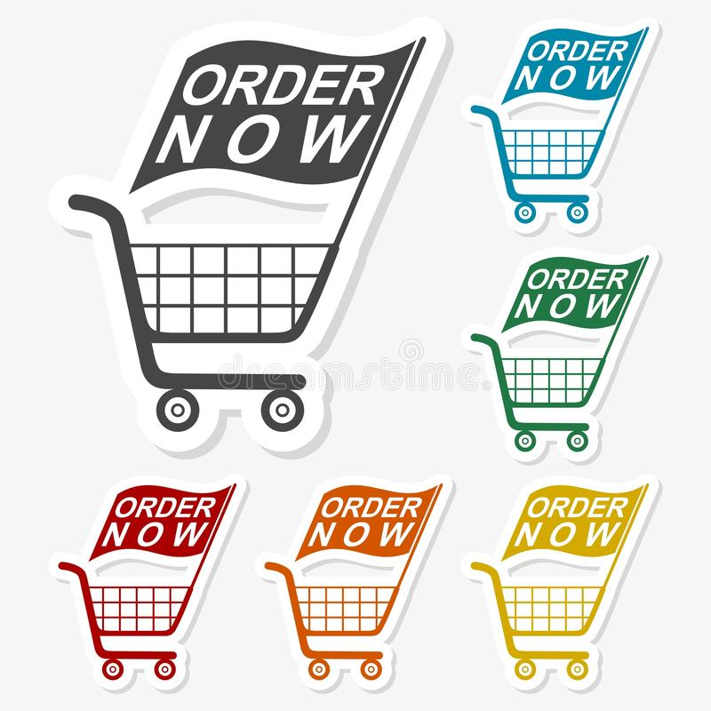 Multicolored paper stickers - Shopping Cart. Vector icon stock illustration