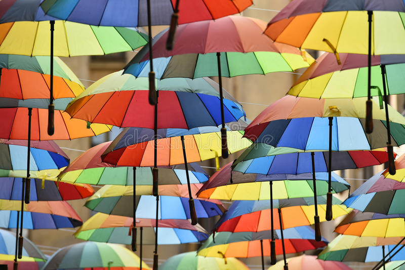 Multicolored paraplu's royalty-vrije stock afbeelding