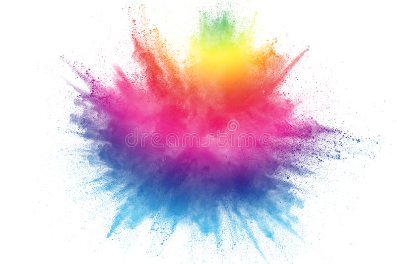 Multicolored particles explosion on white background. Colorful dust splatter on white background royalty free stock photos
