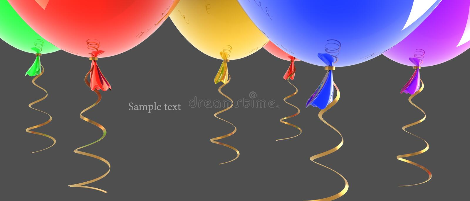 Multicolored party balloons isolated. Background 3d illustration. high resolution royalty free illustration