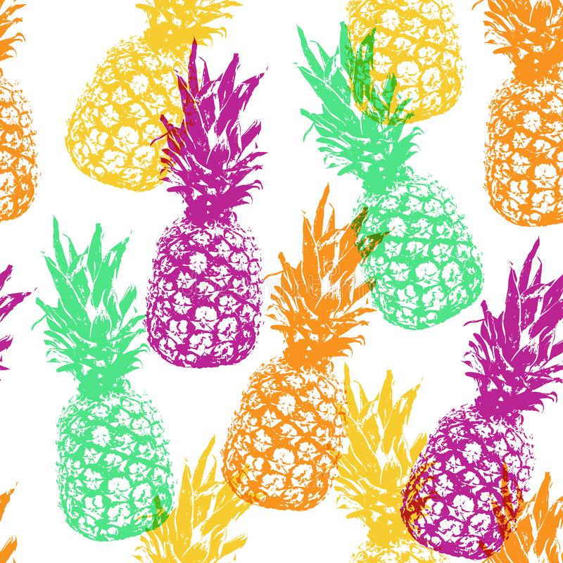 Vintage vector multicolored pattern with pineapples stock illustration