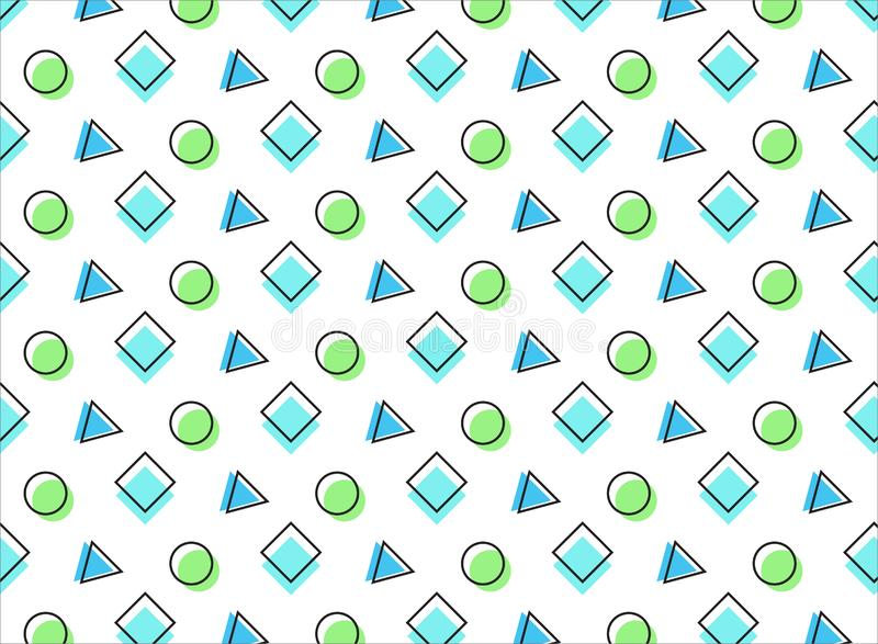Multicolored pattern on a wite background. Blue  and green elements. You can use it as a background for your projects royalty free illustration