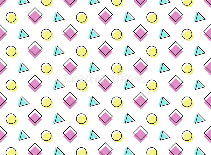 Multicolored pattern on a wite background. Pink, blue and yellow elements vector illustration