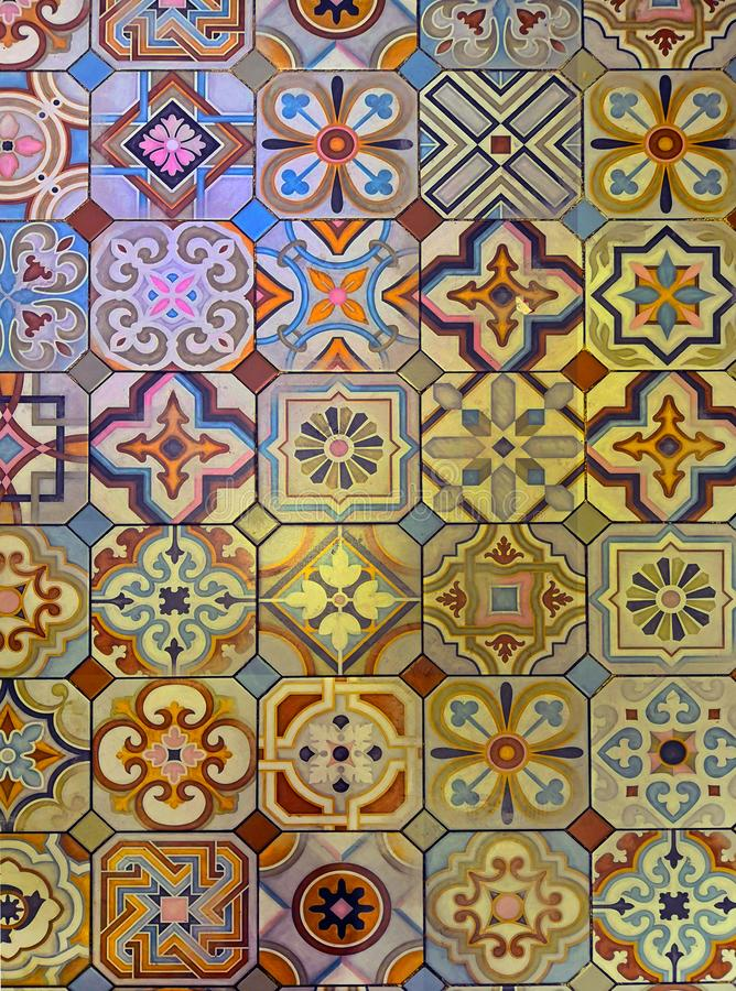 Multicolored patterned geometric tile floor royalty free stock images