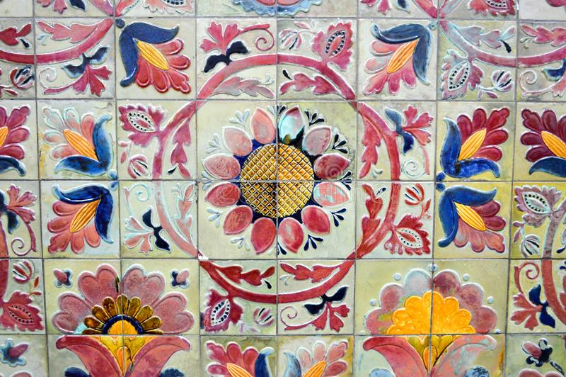 patterned tiles with flowers, background stock images