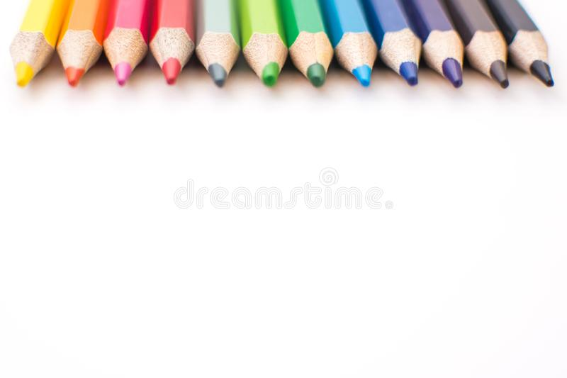 Color pencils isolated on a white background stock photography