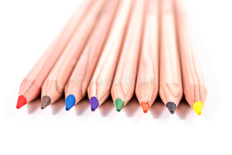 Multicolored pencils isolated on white background stock image