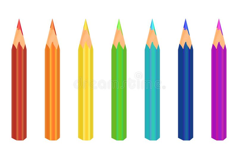 Multicolored pencils. Seven colors are red, orange, yellow, green, blue, blue, purple. Vector royalty free stock photo