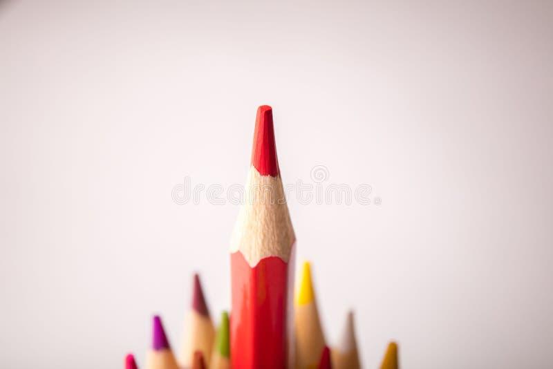 Multicolored pensils geplaatst die op witte achtergrond wordt geïsoleerd stock foto