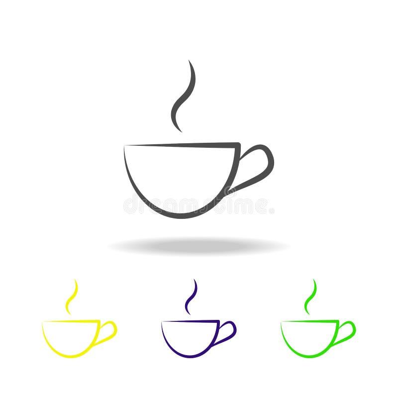 multicolored pictogram van de theekop Element van gezond het levens multicolored pictogram Tekens en symbolen het inzamelingspict stock illustratie