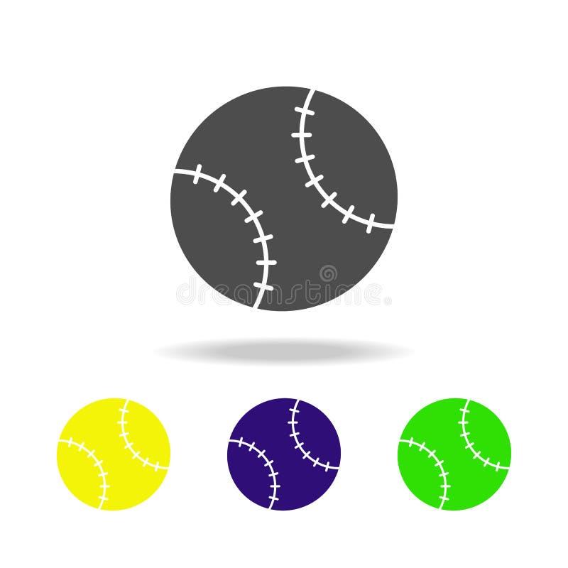 multicolored pictogrammen van de honkbalbal Het element van sportpictogram kan voor Web, embleem, mobiele toepassing, UI, UX word vector illustratie