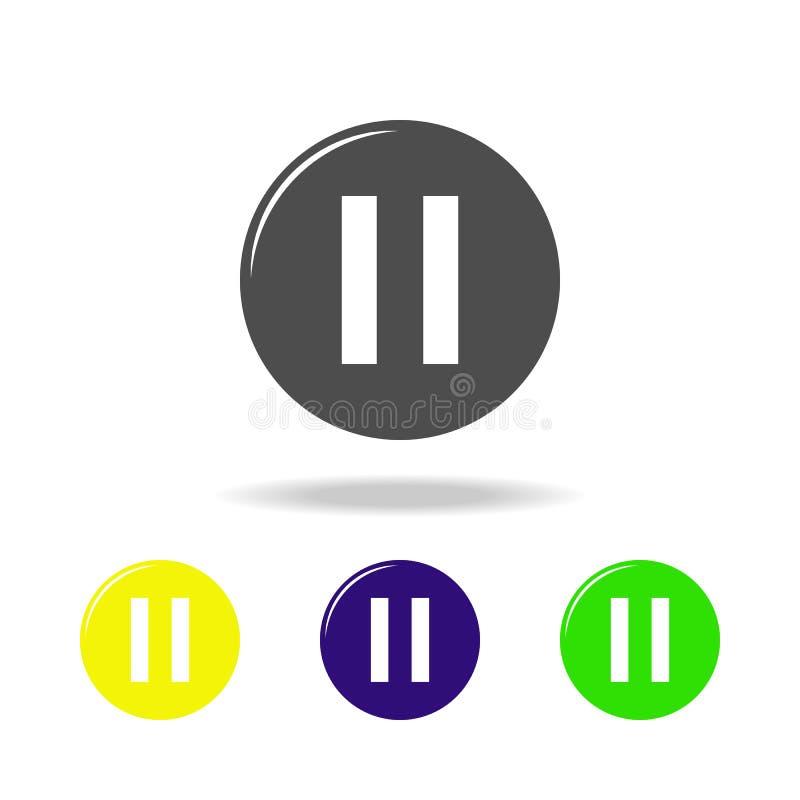 multicolored pictogrammen van het pauzeteken Element van muziekpictogram Tekens en symboleninzamelingspictogram voor websites, We vector illustratie