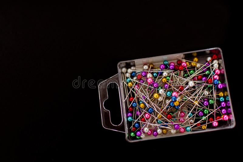 Multicolored pins isolated stock image