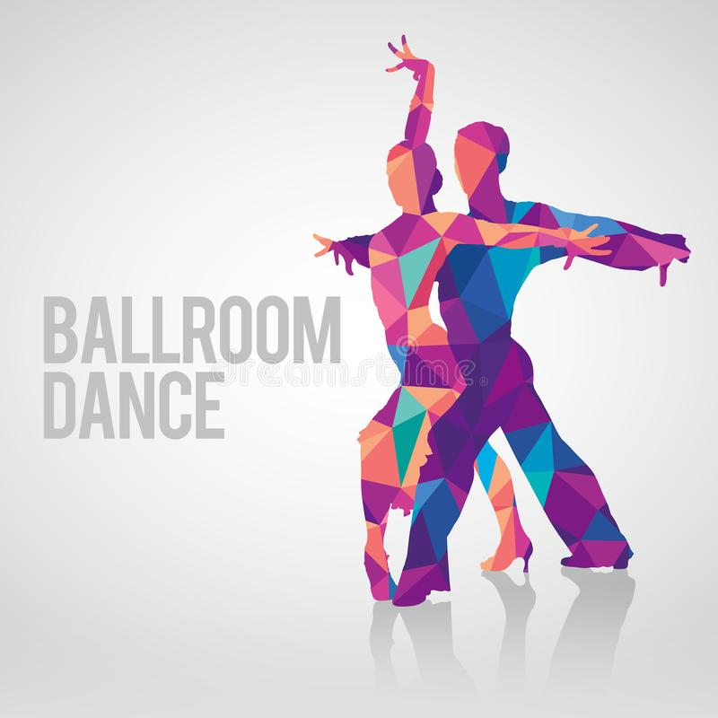 Multicolored polygonal vector silhouette of ballroom dancers stock image