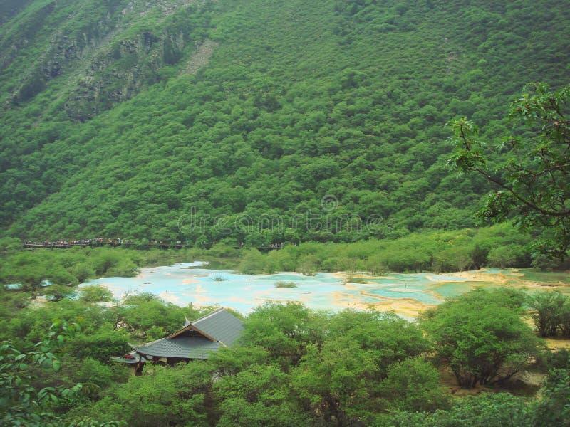 multicolored pool in jiuzhai valley stock photos