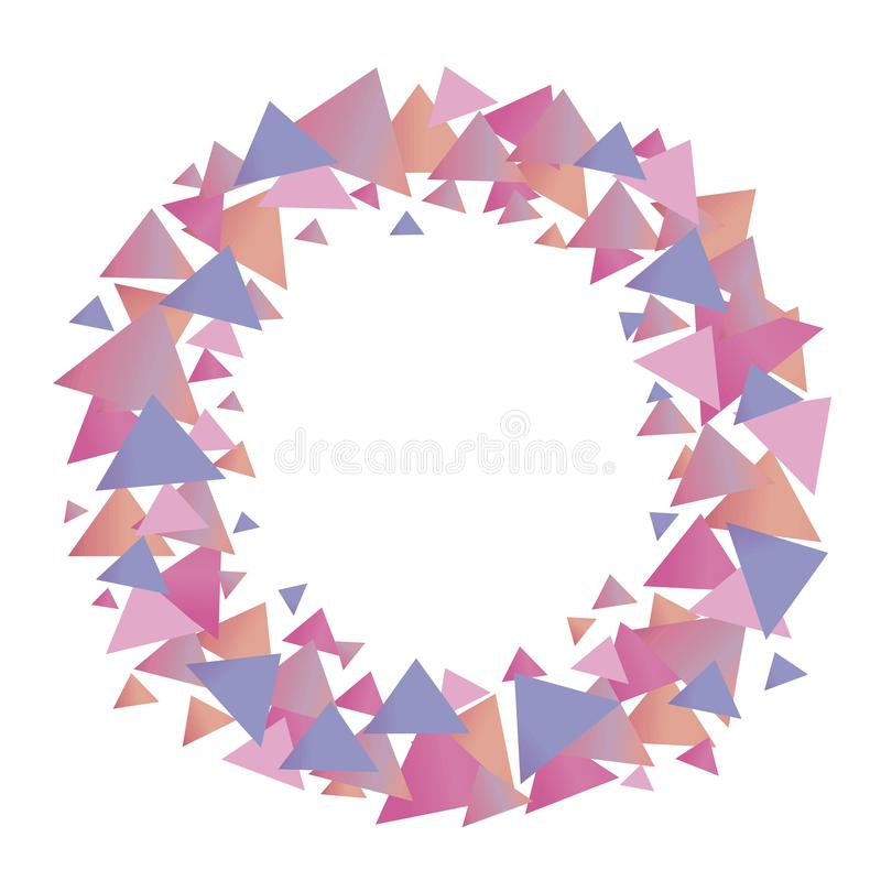 Multicolored positive cute graphic vector wreath of pink blue lilac gradient triangles of girlish pastel shades isolated object on stock illustration