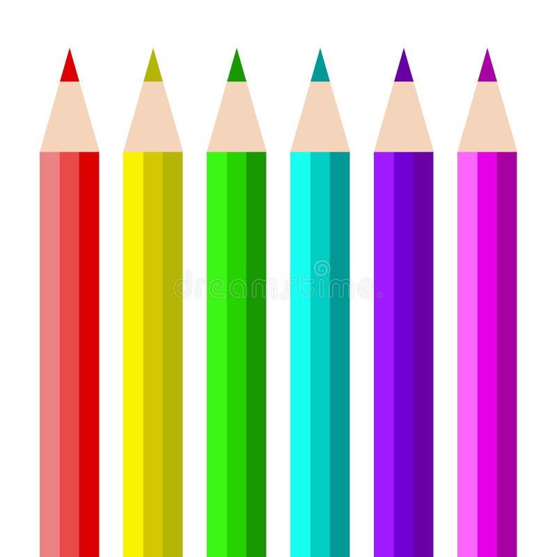 Multicolored potloden de eenvoudige illustratie isoleerde wit vector illustratie