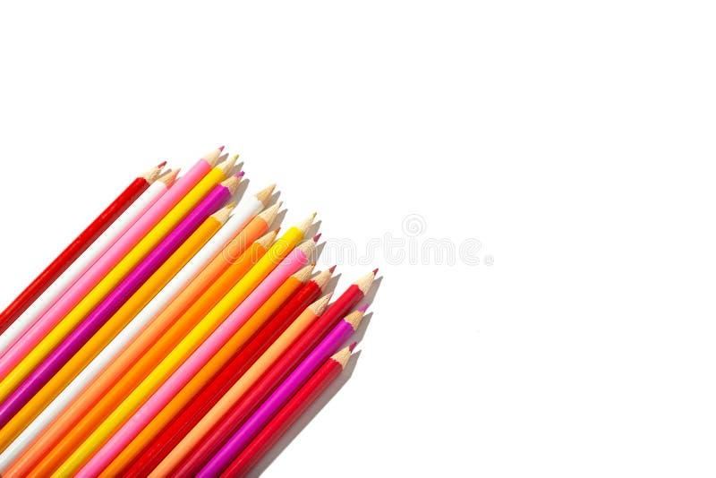 Multicolored potloden die op witte achtergrond worden ge?soleerdk royalty-vrije stock afbeeldingen