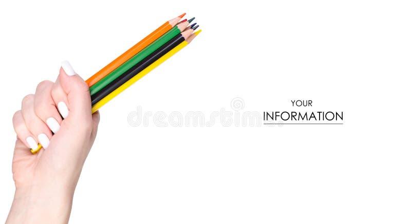 Download Multicolored Potloden In Hand Patroon Stock Afbeelding - Afbeelding bestaande uit blauw, wapen: 114226201