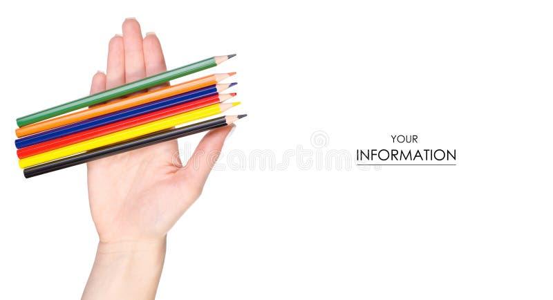 Download Multicolored Potloden In Hand Patroon Stock Afbeelding - Afbeelding bestaande uit creativiteit, zaken: 114226229