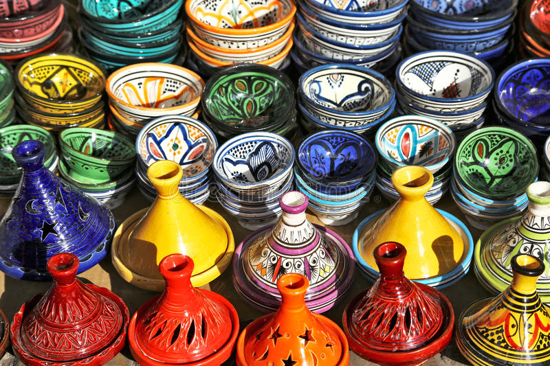 Multicolored pottery on sale in Marrakech, Morocco. Multicolored pottery on sale in a market of Marrakech, Morocco royalty free stock image