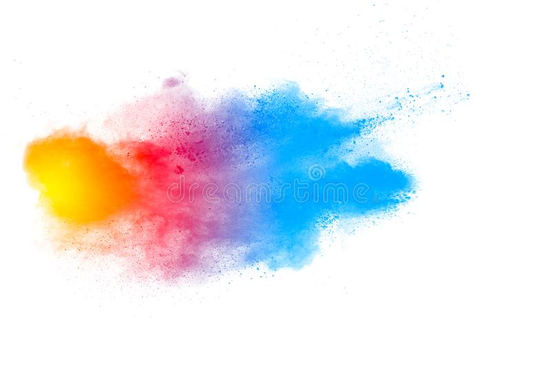 Multicolored powder explosion isolated on white background. Color dust splashing. Color particles splatter on white background stock photo