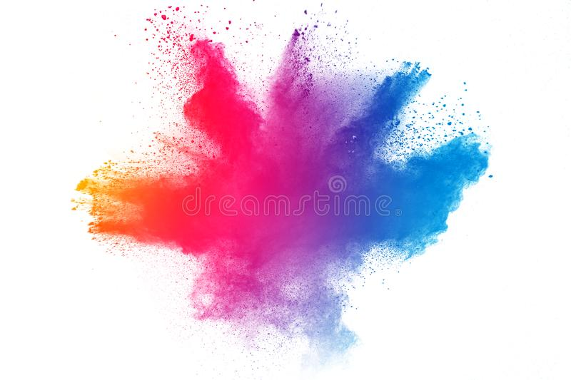 Multicolored powder explosion stock images
