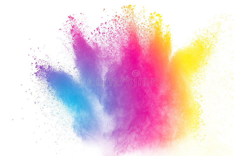 Multicolored powder splatted. Abstract multicolored powder splatted on white background,Freeze motion of color powder exploding stock image