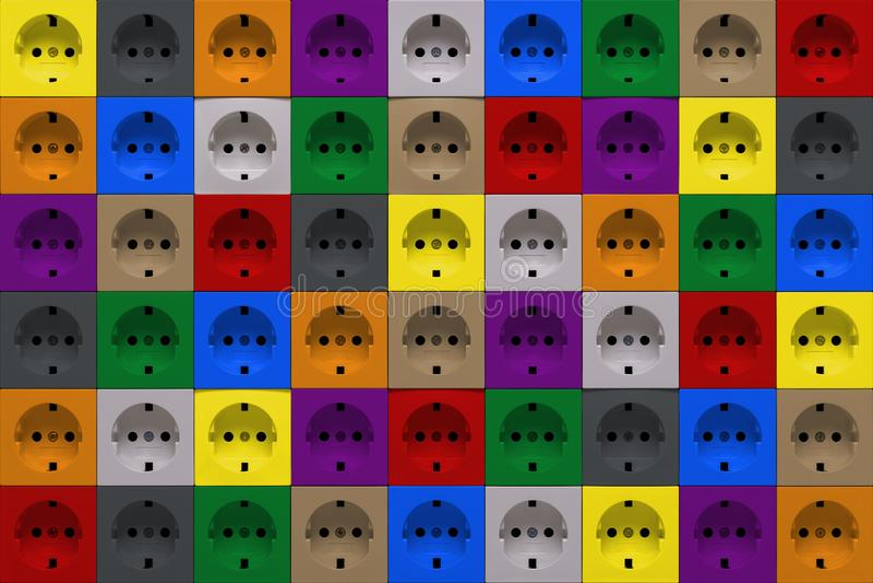 Multicolored power sockets stock photos