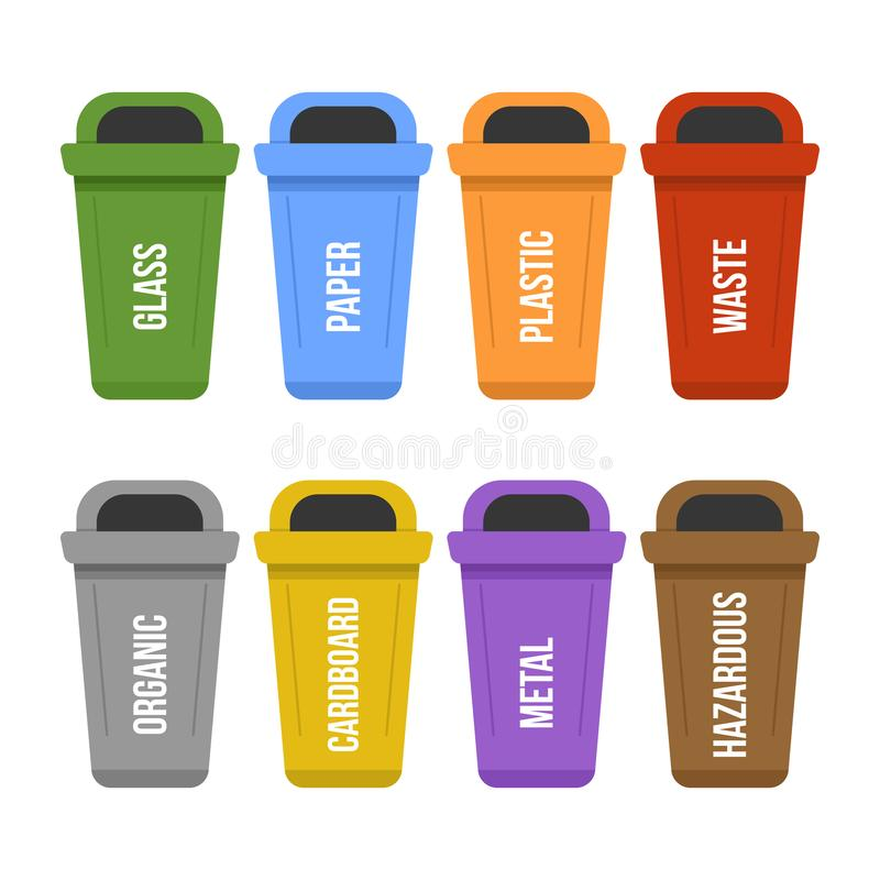Multicolored recycle standing waste bins for separate garbage collection. Different colored garbage containers for waste - plastic, cardboard, organic, paper stock illustration