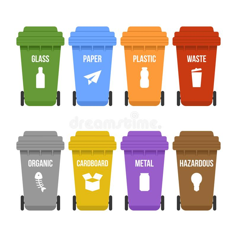 Multicolored recycle waste bins on wheels for separate garbage collection. Colored garbage containers for types of waste - plastic, cardboard, organic, paper stock illustration