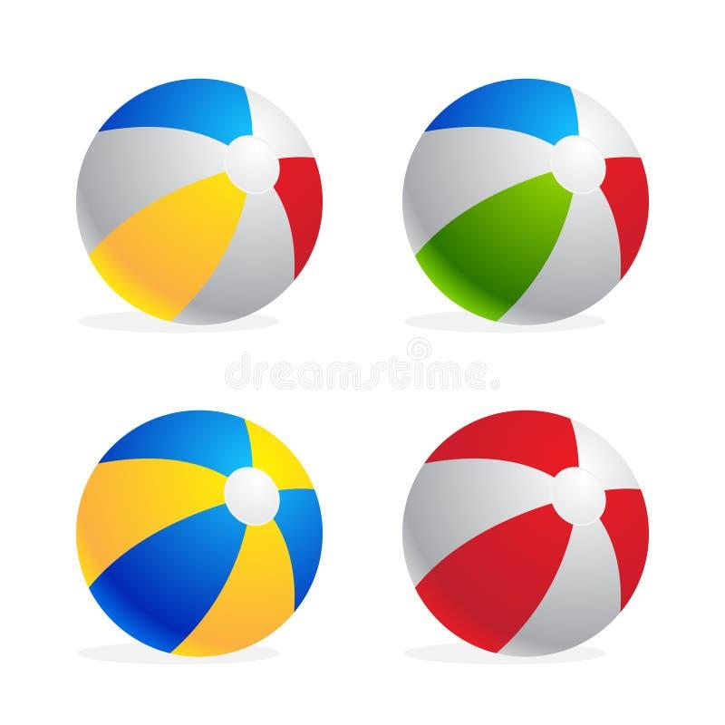 Multicolored reeks van de strandbal op witte achtergrond wordt geïsoleerd die royalty-vrije illustratie