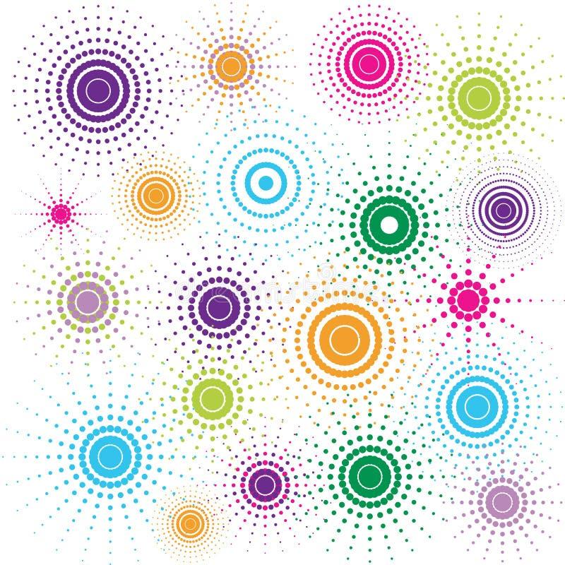 Multicolored retro cirkels stock illustratie