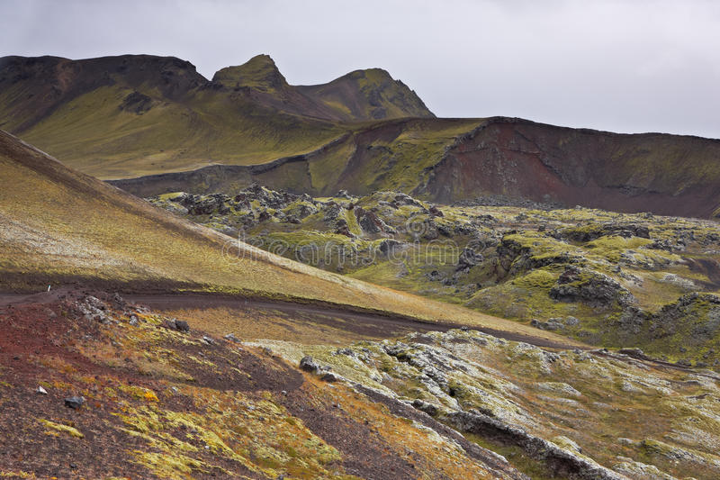 Multicolored rhyolite mountains. In Landmannalaugar, Fjallabak Nature Reserve, Iceland stock photography