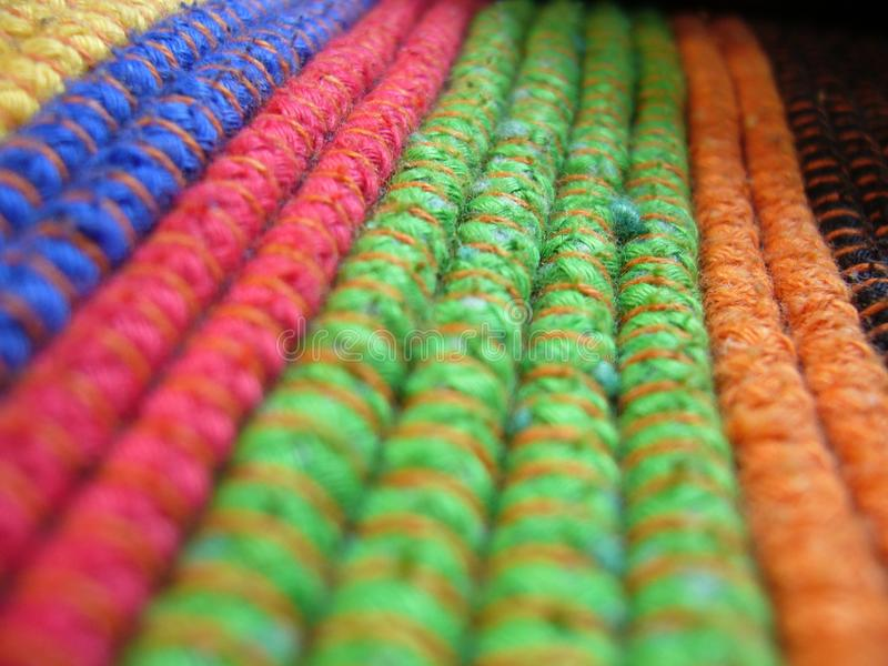 Multicolored rope in a trolley for paintball royalty free stock photography