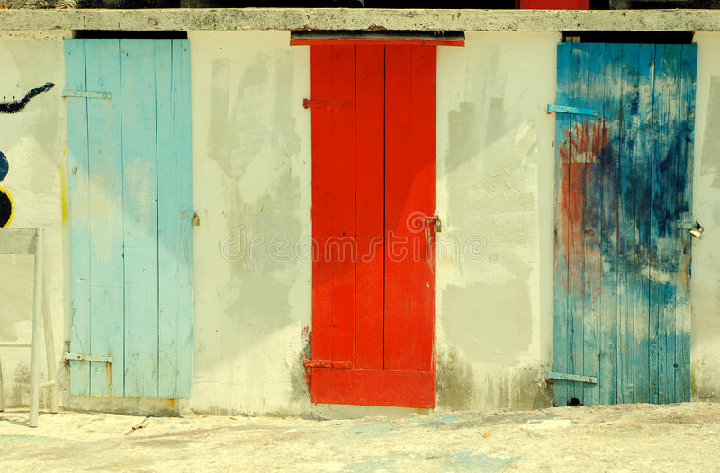 Download Multicolored Run-down Doors Stock Photo - Image of dirty, architecture: 83526768