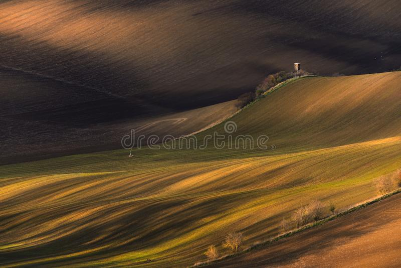 Multicolored Rural Spring /Autumn Landscape.Waved Cultivated Row Field With Hunting Tower In Springtime. Rustic Autumn Landscape stock photo