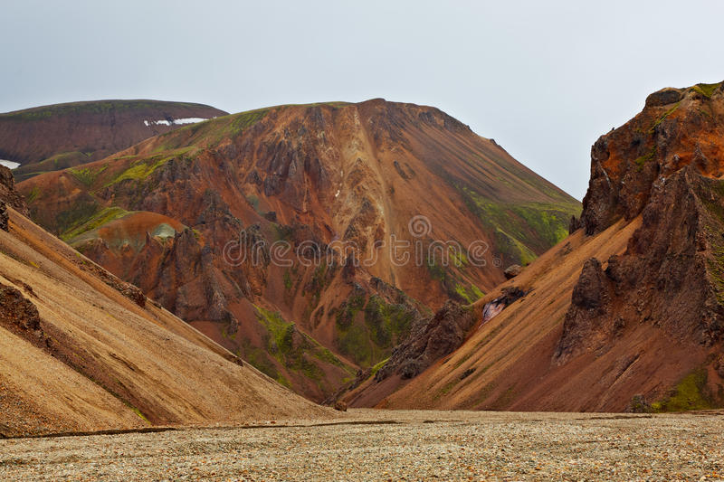 Multicolored ryolietbergen in Landmannalaugar royalty-vrije stock afbeelding