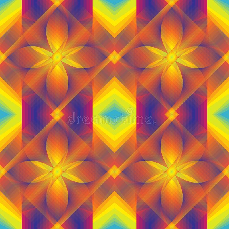 Multicolored, seamless, geometric pattern. Ornaments. For fabrics, wallpapers. stock illustration